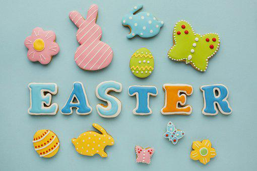 Easter, Cookies, Flat Lay, Background, Biscuits, Pastry