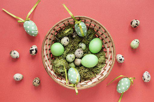 Easter Eggs, Eggs, Flat Lay, Background, Easter, Basket