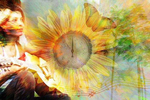Stopwatch, Flower, Woman, Guitar, Guitarist, Musician