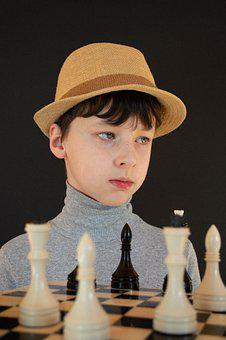 Baby, Boy, Chess, Checkerboard, Chess Pieces, Hat, View