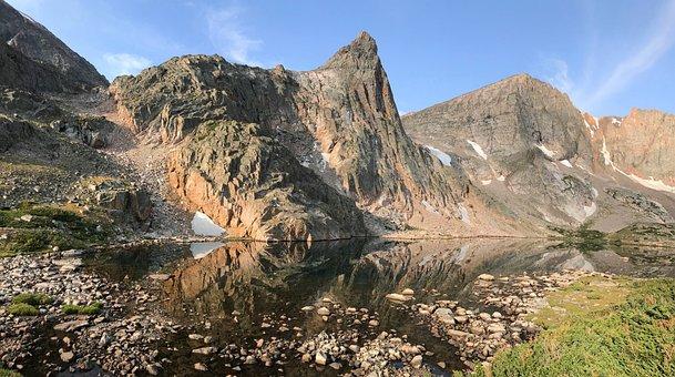 Lake, Rocks, Mountains, Reflection, Water, Pond, Stones