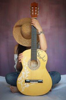 Woman, Guitar, Hat, Strings, Music, Guitarist, Musician
