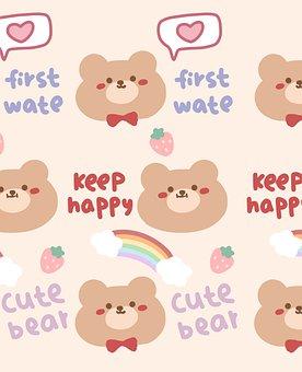 Bear, Cartoon, Background, Pattern, Teddy Bear, Rainbow
