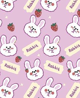 Rabbit, Cartoon, Background, Pattern, Bunny, Animal
