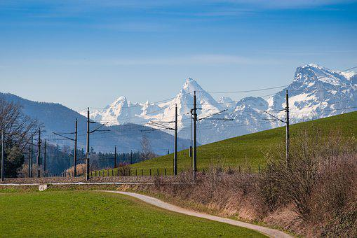 Railway, Field, Mountains, Railroad, Rail Tracks