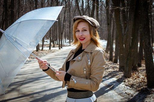 Portrait, Forest, Spring, The Offseason, Girl, Umbrella