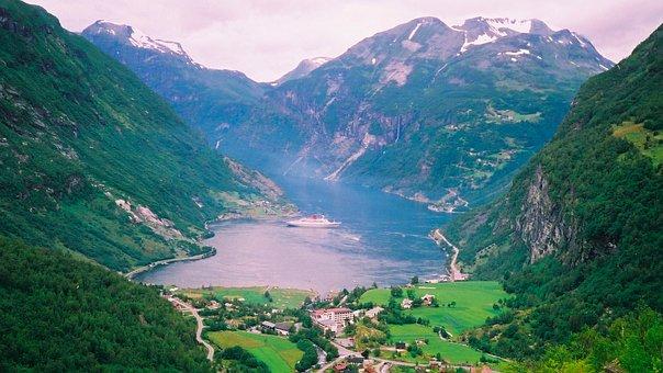 Mountains, Valley, Inlet, Town, Fjord, Mountain Range