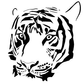 Tiger, Head, Logo, Wildlife, Predator, Animal, Mammal