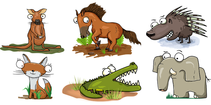 Animals, Wildlife, Cartoon, Horse, Elephant, Crocodile