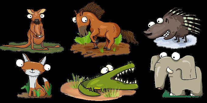 Animals, Wildlife, Cartoon, Horse, Elephant, Crocodile
