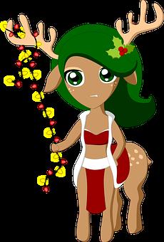 Deer, Centaur, Christmas, Female, Antlers, Character