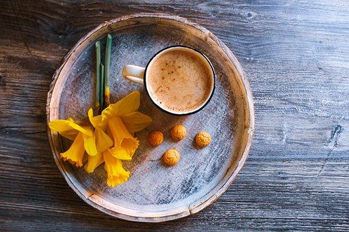 Daffodil, Coffee, Breakfast In Bed, Tablet, Spring