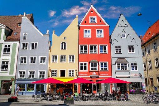 Houses, Facades, Colorful, Gable, Narrow, Building