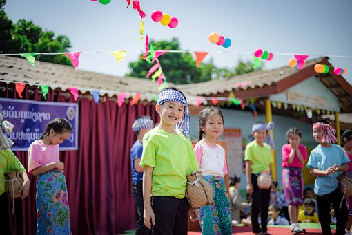 Kids, Dance, Lao, Traditional, Costume, Stage
