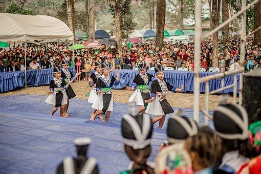 Hmong, Festival, Dance, Girls, Costume, Dancing