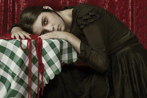 Girl, Tired, Table, String, Red String, Black Dress