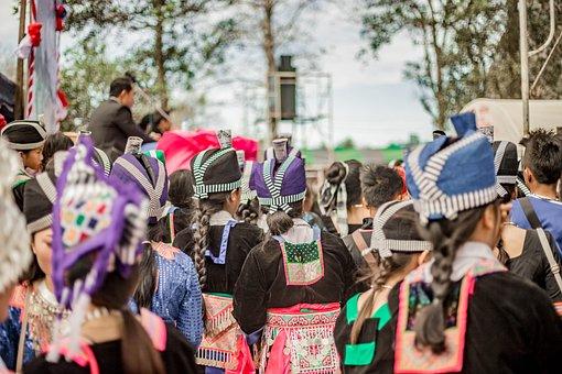 Hmong, Festival, Crowd, Women, Girls, Costume, Clothes