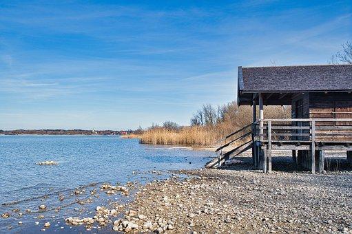 Lake, Bank, Hut, Water, House, Log Cabin, Beach Hut