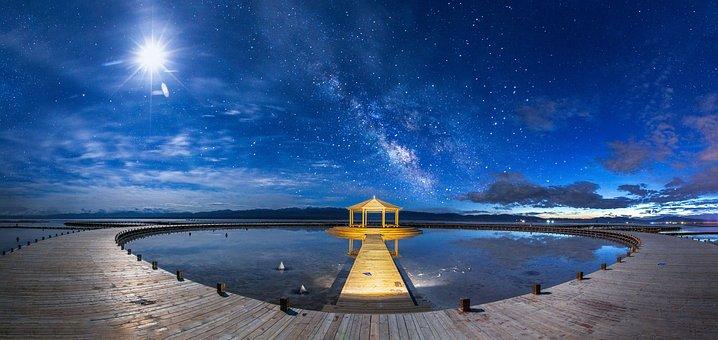 Pavilion, Lake, Night, Panorama, Wooden Path, Walkway