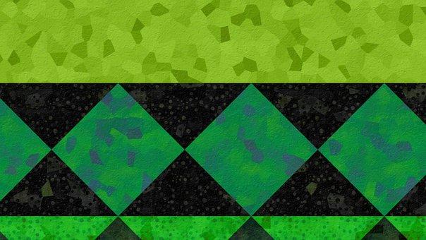Abstract, Background, Mosaic, Geometric, Pattern, Green