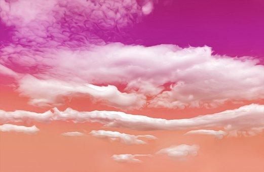Sky, Clouds, Pink, Gradient, Colorful, Cloudscape