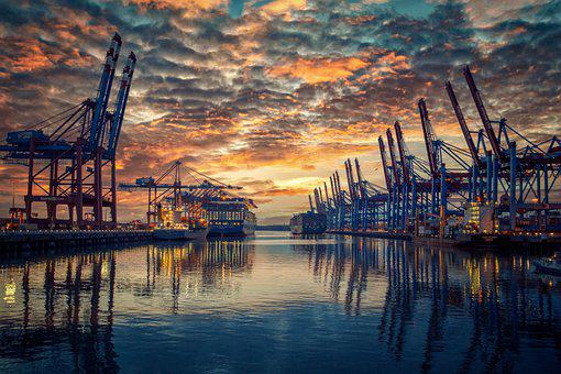 Port, Container Cranes, Sunset, River, Reflection