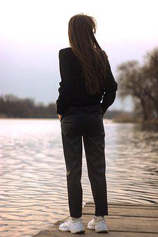 River, Woman, Relaxing, Dock, Tourist, Leisure