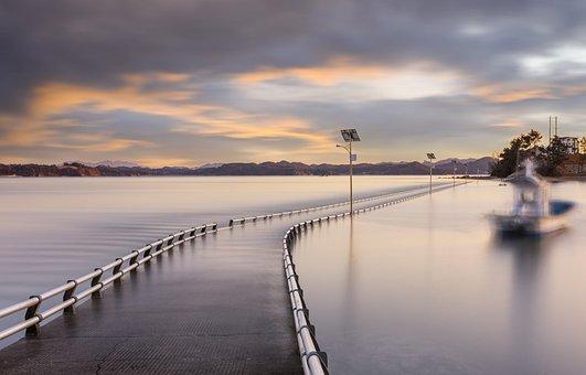 Road, Sea, Sunset, Clouds, Sky, Solar Light