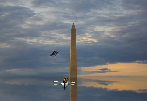 Monument, Kayak, Water, Girl, Eagle, Reflection
