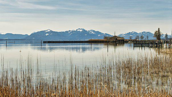Lake, Reeds, Alps, Alpine, Reedy, Chiemsee, Jetty