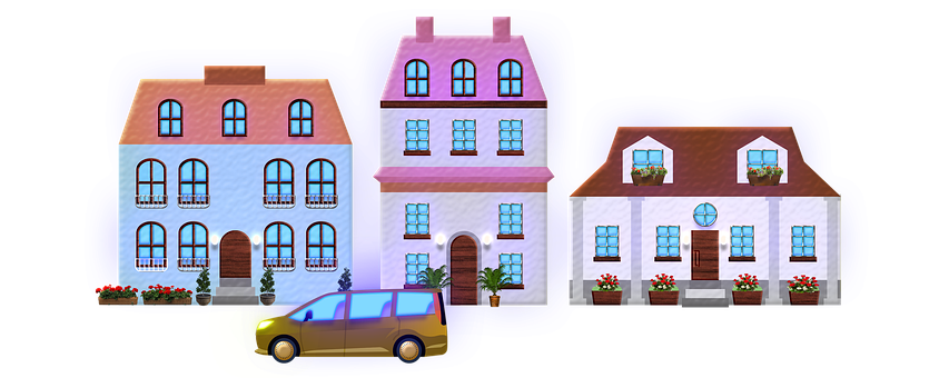 Townhouses, Car, Street, Apartments, Architecture
