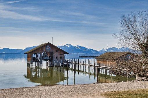 Lake, Boardwalk, Boat House, Dock, Pier