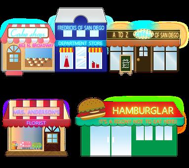 Buildings, Stores, City, Business, Shops, Town, Village