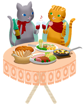 Cats, Couple, Dinner, Celebration, Food, Wine, Cheers