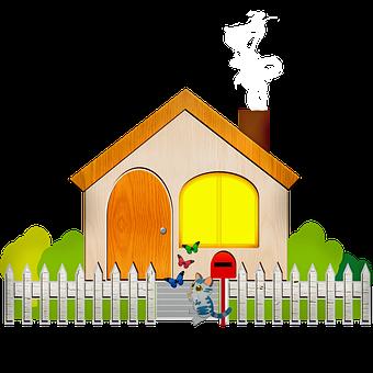 House, Fence, Cat, Butterflies, Facade, Door, Window