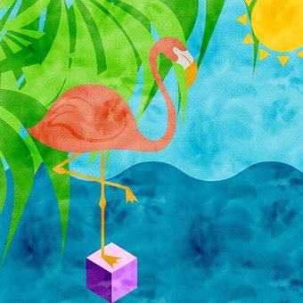 Digital Paper, Flamingo, Lake, Watercolor, Leaves, Sun
