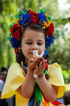Girl, Child, Kid, Bird, Owl, Flowers, Crown, Wreath