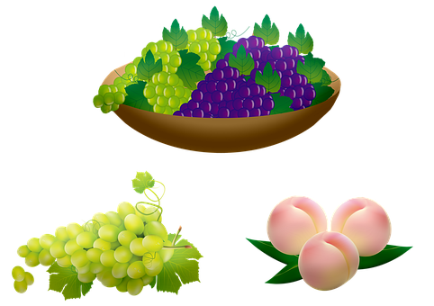 Grapes, Peaches, Fruits, Food, Produce, Healthy