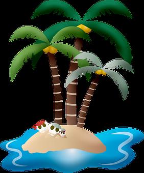 Island, Palm Trees, Skeletons, Pirates, Coconut Trees