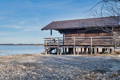 Lake, Chiemsee, Waters, Bank, Beach, House, Hut