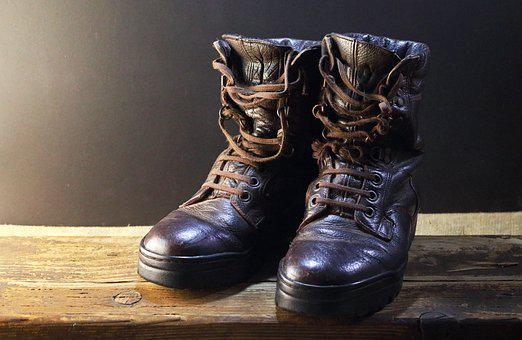 Boots, Leather, Old, Combat, Combat Boots, Used, Pair