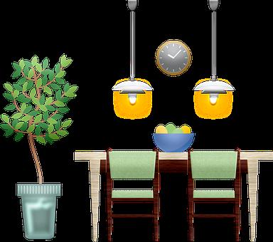 Dinning Room, Furniture, Lights, Decoration, Plant
