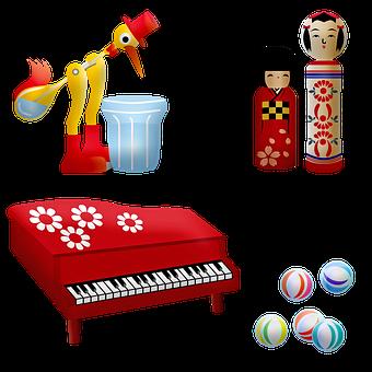 Vintage, Toys, Wooden, Little Piano, Bird
