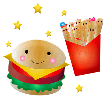 Hamburger, French Fries, Smile, Face, Food, Meal, Lunch