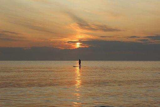 Sunset, Paddle, Stand Up, Paddling, North Sea, Sea