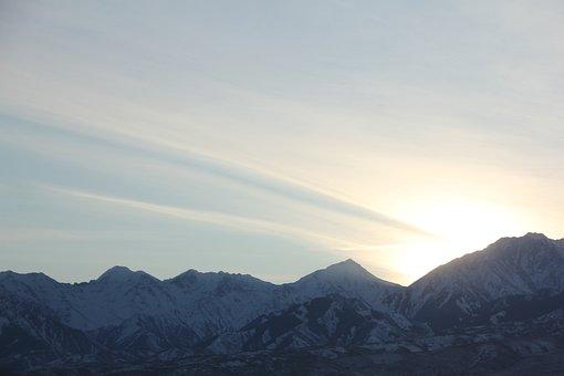 Mountains, Summit, Sunrise, Snow, Sunlight, Sky, Peak