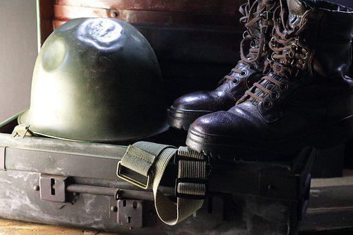 Combat Helmet, Combat Boots, Personal Equipment