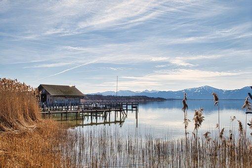 Lake, Boardwalk, Boat House, Dock, Pier, Reflection