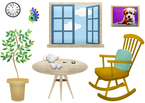 Rocking Chair, Window, Room, Tea, Plant, Picture, Sky