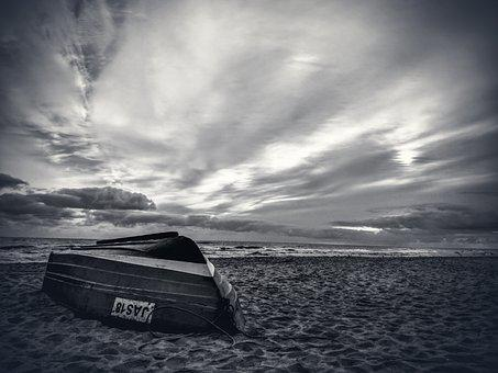 Sea, Beach, Boat, The Baltic Sea, Holidays, Summer